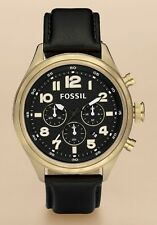 Fossil Watch * DE5000 Vintaged Bronze Black Leather Classic for Men