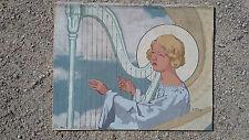 peinture signée André Mériel-Bussy ange harpe symboliste maurice denis