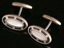Antique Mother of Pearl Cuff Links Black Celluloid Silver Tone