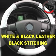 FORD FOCUS FIESTA C-MAX KUGA STEERING WHEEL COVER WHITE & BLACK QUALITY  LEATHER