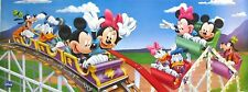 "DISNEY ""ROLLER COASTER & FERRIS WHEEL"" POSTER/BANNER-MICKEY MOUSE,MINNIE,DONALD"