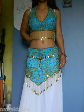 SET TOP + CINTURA DANZA DEL VENTRE azzurro belly dance costume danza orientale