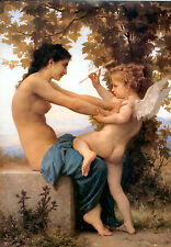 Jeune fille & cupidon par william bouguereau en toile coton ou fine art poster print