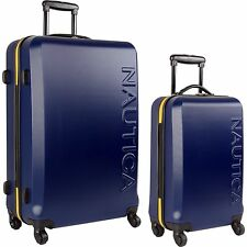 NAUTICA AHOY HARDSIDE SPINNER 2 PIECE LUGGAGE SET NAVY YELLOW $640 VALUE NEW