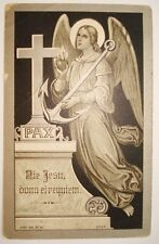 102. ENGEL ANTIQUE FUNERAL HOLY CARD SILVERED 1839†1920