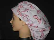 Surgical Scrub Hats/Caps  Fancy Diva Pumps With silver Sparkles Pink