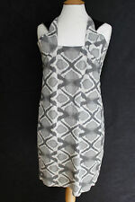 Roland Mouret Gris Estampado Jacquard Vestido Shift UK 12