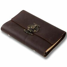 Ancicraft Refillable Leather Journal with Retro Flower Vase Lock A6 Blank Paper
