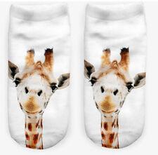 Lindo pair3d Jirafa Impreso hombres mujeres moda diseñador de corte bajo calcetines de tobillo