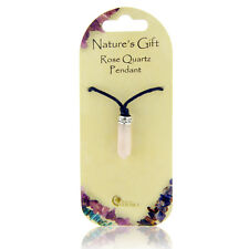 Healing Pink Rose Quartz Pendulum Crystal on Black Cord Natures Gift Necklace
