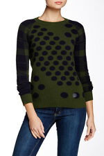 NWT Barbour 6 Torbay Mixed Polka Dot Plaid Print Wool Sweater Preppy Green Navy