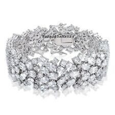 100ct Round Oval Brilliant Cut Cz Cubic Zirconia Tennis Line Ladies Bracelet