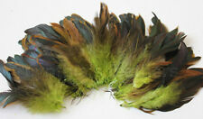 """20g (0.7ozs) 4-6"""" half bronze lime green schlappen coque rooster feathers ~200pc"""