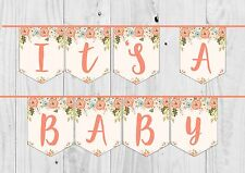 IT'S A BABY FLORAL NEUTRAL BABY SHOWER BUNTING BANNER. Girl, Boy, Neutral.