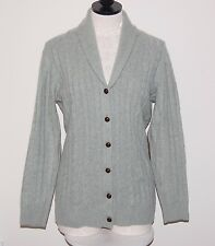 DAVIDA 100% Cashmere 4ply Knit Cardigan Sweater Leather Patches M