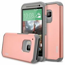 RANZ HTC ONE M9 Rose Gold Hard Impact Dual Layer Shockproof Bumper Silicone Case