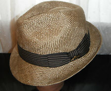 TOMMY BAHAMA golden SHADEMAKER pinch front FEDORA Hat  large DELUXE SISAL STRAW