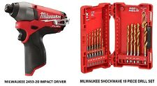 "MILWAUKEE FUEL LITHIUM-ION 12V BRUSHLESS 1/4""HEX IMPACT DRIVER  2453-20 & DRILLS"