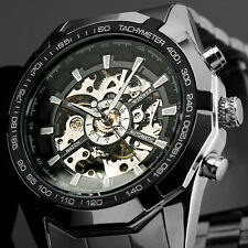 Superb Mens Automatic Mechanical Skeleton Analogue Fat Steel Band Wrist Watch