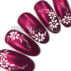 Nail Art Water Decals Transfers Stickers Wraps Delicate White Flowers Dots Y008