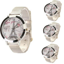 New style Women's Stainless Steel Eiffel Tower Face Silver Band Quartz Watch