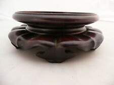 RARE ANTIQUE CHINESE CARVED WOODEN VASE BOWL JADE STAND BASE DISPLAY ROSEWOOD 3