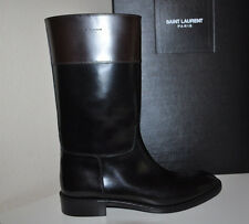 NIB $1,395+ YSL Yves Saint Laurent Cavaliere Black Mid Calf Riding Boot Sz 39.5