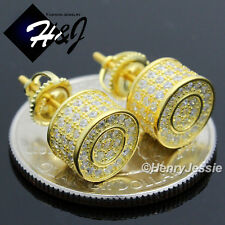 925 STERLING SILVER 9MM LAB DIAMOND BLING ROUND SCREW BACK GOLD STUD EARRING*E75