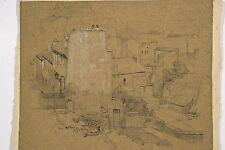 Jules PONCEAU 1881-1961 Dessin 1906 Maisons Rue Beethoven et le pied Tour Eiffel