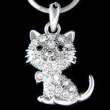 w Swarovski Crystal ~Kitty Cat~ Kitten Animal pet Charm Pendant Necklace Jewelry