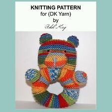 KNITTING PATTERN Anwen Teddy Bear Rattle Animal Baby Pram Cot Soft DK Yarn Toy