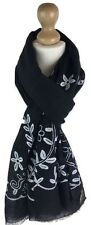 New Women Ladies Cotton Blend Large Embroidered Scarf Snood Cowl Pashmina