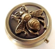 Vintage Bronze Pill Box - Honey Bee Pocket Pill Box Purse Pill Case