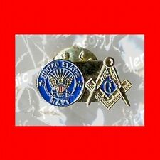 NEW MILITARY GIFT:US USA U.S.A.FREE MASONS'MASONIC NAVY LAPEL PIN-FREEMASON,EXC!