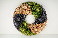 "Multi-Color Spring Round 18"" Wood Curl Wreath or Wall Decor"