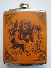 Flachmann Bär 2 Wölfe Wolf 0,2 l Trinkflasche Taschenflasche Edelstahl NEU OVP