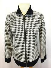 womens black white houndstooth CHICOS TRAVELERS jacket knit zip front XS S 0