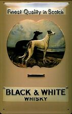Black and White Scotch Whiskey Greyhounds embossed steel sign 300mm x 200mm (hi)