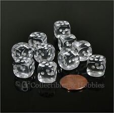 NEW 10 Transparent Clear 12mm Rounded Edge D6 Dice Set D&D RPG Game MTG Chessex