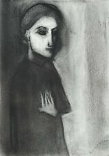 "ROBERT DICKERSON ""Standing Woman"" Original Charcoal, Signed, 38cm x 27cm, Framed"