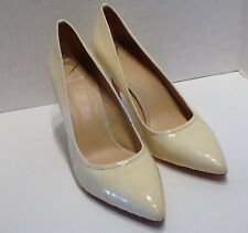 Malika Brian Atwood High Heel Leather Pumps Sexy Nude Cream Snakeskin Size 10 M