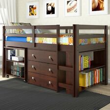 DONCO Kids Low Study Loft Bed In Dark Cappucino For Kids 760-Cp New