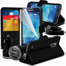 Carbon Fibre Wallet Case Cover & Dual Charger For Samsung Galaxy S5 Neo