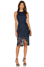 KEEPSAKE 'say my name' FLORAL LACE NAVY SHEATH DRESS sz S