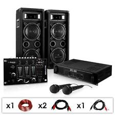 KARAOKE PARTY PA SOUND SYSTEM 1200W DJ AMPLIFIER MIXER FLOOR SPEAKERS 2x MIC USB