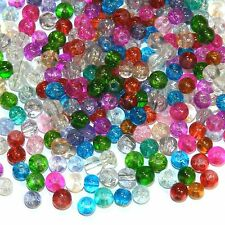 G9911 Assorted Mixed Color 4mm Round Crackle Glass Beads 1oz (Appx. 300 Beads)