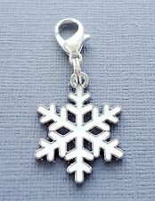 ONE Christmas Snowflake Clip On Charm Dangle Fit Link Chain floating locket C172