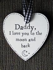 Papá te amo a la Luna y Espalda Placa Corazón Regalo-Negro (día del padre)