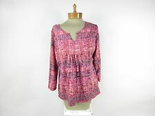RUBY RD. Women's Tank Lined V Neck Blouse Top SIZE M Medium Pink & Purple