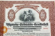 Rare! General Electric Co. Germany 1925 Gold bond / Dollar loan -- with coupons!